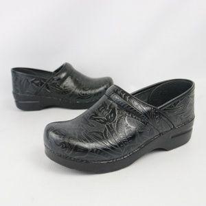 Dansko Black Leather Paisley Embossed Tooled Clogs